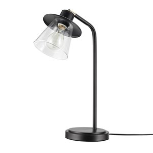 Globe Electric Desk Lamp with Dark Bronze Finish and Antique Brass Accents,On/Off Switch In-Line,5Ft Black Cord