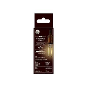 GE 3W LED T6 VINTAGE CLEAR 1CT