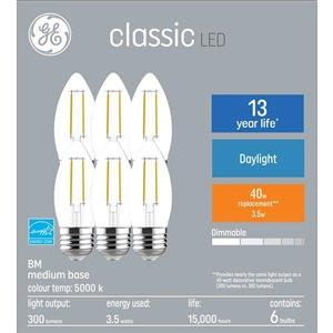 GE 40W LED B10M CLASSIC DL 6CT