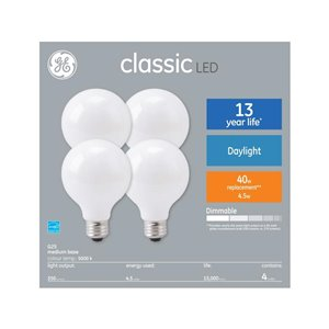 GE 40W LED G25 CLASSIC DL FROSTED 4CT