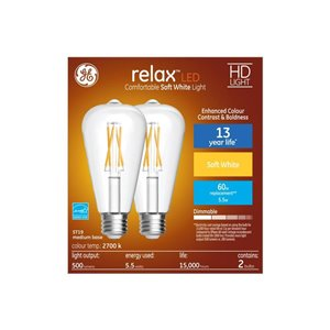 GE 60W HD LED ST19 RELAX CLEAR 2CT