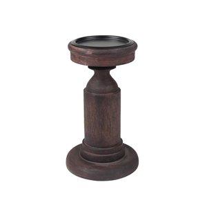 allen + roth Wooden Pillar Candle Holder - 8-in - Dark Walnut