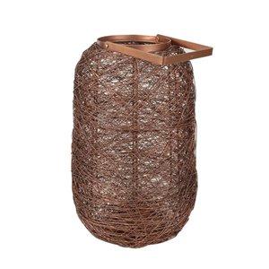 allen + roth  Large Wire Lantern - Mild Steel - 9.4-in x 15.6-in - Copper