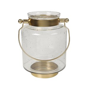 allen + roth Hurricane Lantern - Glass and Metal - 9.5-in - Gold