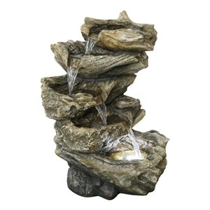Style Selections Lighted Driftwood Cascading Fountain