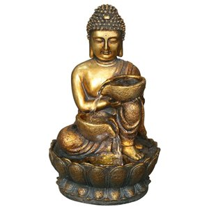 Angelo Decor International 16 -in Golden Buddha Fountain