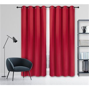 Safdie & Co Woven Total Blackout Curtain 54-inx84-in- Red