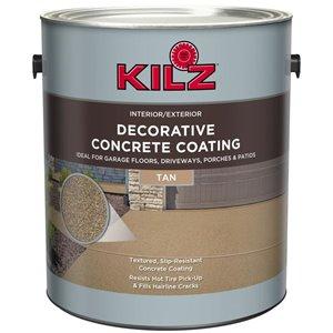 KILZ DECORATIVE CONCRETE COATING 1-part Tan Flat Flat Acrylic Garage floor paint (Actual Net Contents: 3.7 Liter(s))