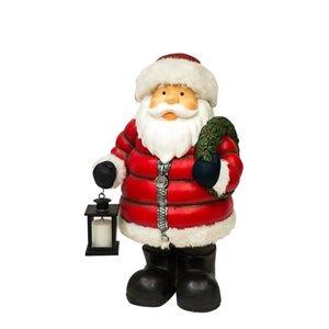 Infinity Santa with Christmas Wreath and Lantern Figurine