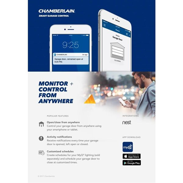 Chamberlain 1 2 Hp Smart Phone Controlled Chain Drive Garage Door Opener With Med Lifting Power Lowe S Canada