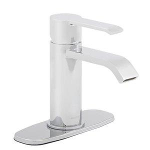AquaSource Veda Chrome 1-Handle Single Hole Bathroom Sink Faucet with Drain