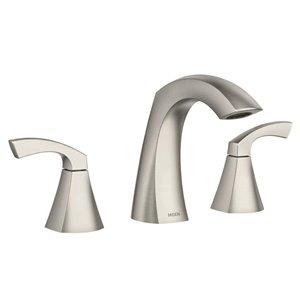 Moen Lindor Spot Resist Brushed Nickel 2-Handle Widespread WaterSense Bathroom Sink Faucet with Drain