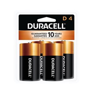 Duracell Coppertop D Alkaline Battery (4-Pack)