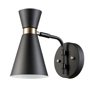 Globe Electric Belmont 11.02-in W 1-Light black Ambient Hardwired Wall Sconce