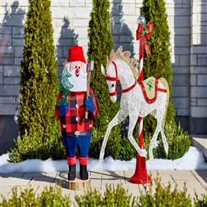42-in Twinkling Multicolour LED Lumberjack Santa