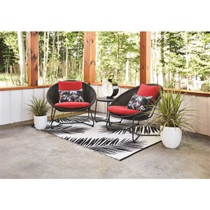 Style Selections Kameron 3-Piece Bistro Set - Black and Red
